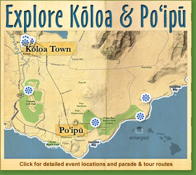 Map of Koloa Plantation Days festival activities in Koloa and Poipu, south shore Kauai, Hawaii