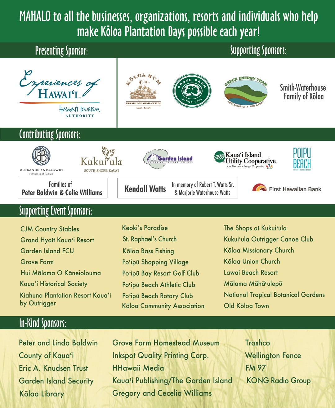 Join In Amp Support Koloa Plantation Days